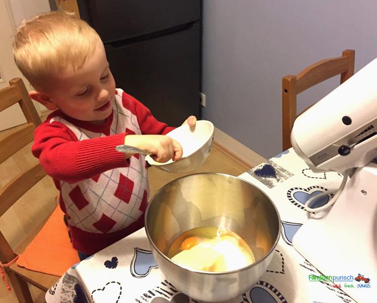 Schneeballkuchen Alle Zutaten vermengen