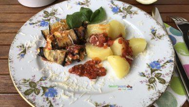 Auberginen-Involtini - Mit Kartoffeln servieren