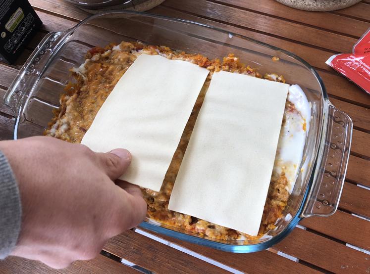 Kürbis-Lasagne - zweite Schicht