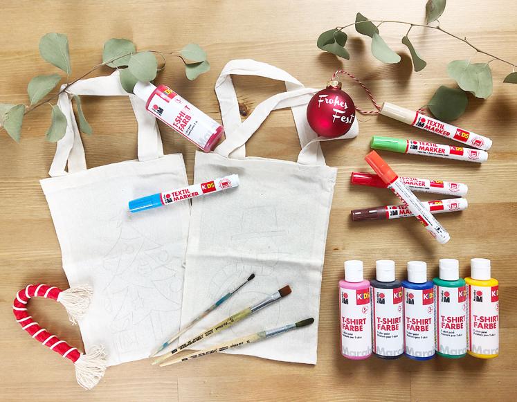 Geschenkverpackungen - Farben und Textilmarker